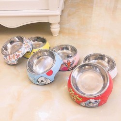Pet stainless steel cartoon food bowl non-slip and easy to clean, universal for cats and dogs
