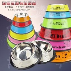 Pet supplies dog bowl Natural stainless steel pet bowl Painted printing non-slip dog food bowl