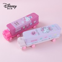 Authentic Disney cartoon & Hello Kitty double-layer stationery iron pencil case