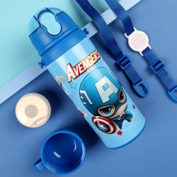 Genuine Disney Cartoon Children Double Cover Vacuum Double Bouncing With Straw 316 Stainless Steel Mug