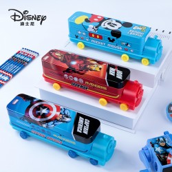 Genuine Disney creative cute cartoon double-decker train multifunctional creative iron pencil case