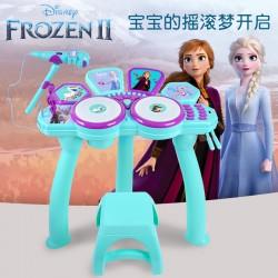 Authentic Disney Children's Music Toys Frozen Jazz Drum Flashing Light Electronic Drum
