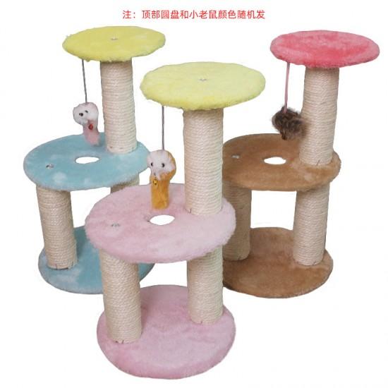 Pet toy sisal plush three-layer circular cat climbing frame