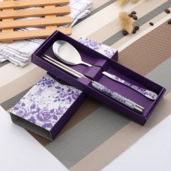 Tableware set. Stainless steel creative blue and white porcelain tableware fork spoon chopsticks