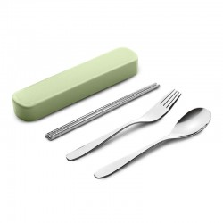 Tableware set. 304 stainless steel portable spoon chopsticks fork three sets