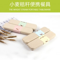 Tableware Set. Wheat Straw Children's Portable Stripes