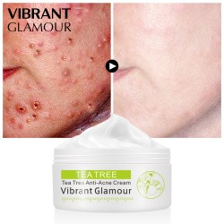 Vibrant Glamour tea tree acne cream. Controlled closed acne acne printed