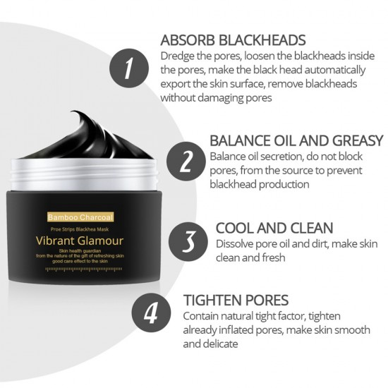 Vibrant Glamour bamboo charcoal to black head to tear nasal film. Clean pores